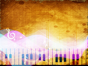 Stylized Retro Musical Background With Piano.