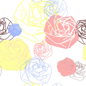 Stylized Rose Seamless Pattern.