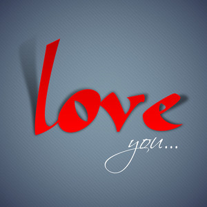 Stylized Text Love You On Grey Background