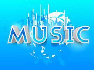 Stylized Text Music On Blue Musical Background
