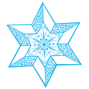 Stylized Winter Star With Snowflake In The Center
