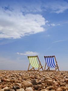 Subject: View Of Two Traditional Deck Beach Chairs