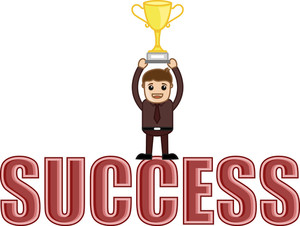 Success Achieved - Business Cartoons Vectors