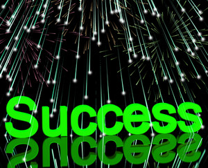 Success And Fireworks Showing Achievement And Determination