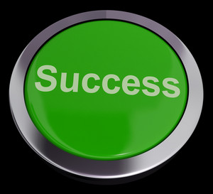 Success Button In Green Showing Achievement And Determination