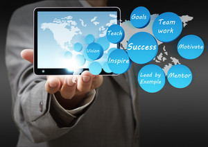 Success Icon Diagram And Tablet Computer