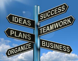 Success Ideas Teamwork Plans Signpost Showing Business Plans And Organization
