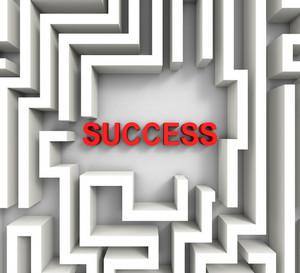 Success In Maze Showing Puzzle Achievement