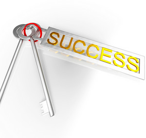Success Keys Shows Victory Achievement Or Succeed