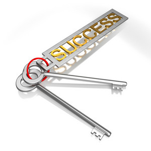 Success Keys Shows Victory Achievement Or Successful