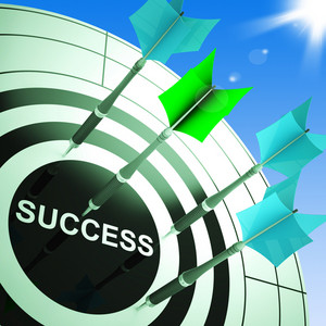 Success On Dartboard Showing Accomplished Progress