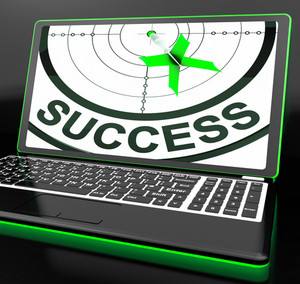Success On Laptop Showing Successful Progress
