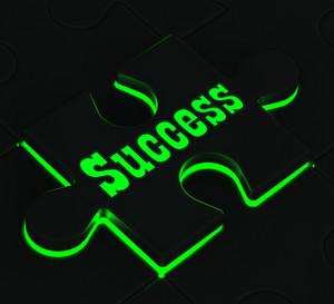 Success Puzzle Showing Successful Achievements