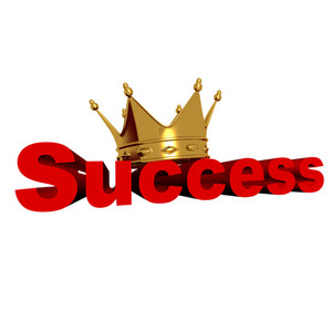 Success Text With Golden Crown