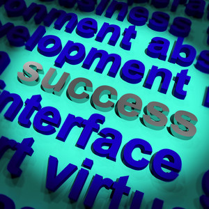 Success Word Showing Achievement Vision And Determination