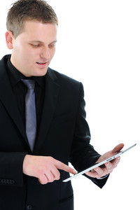 Successful businessman with ipad