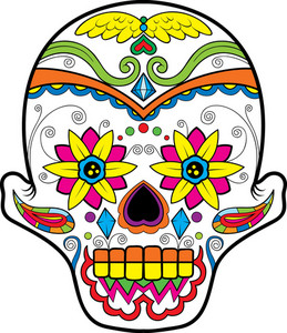 Sugar Skull Vector Element With Flower