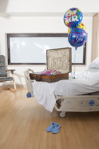 Suitcase in patient room