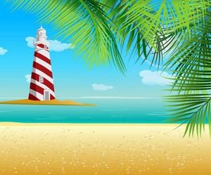 Summer Background With Light Tower Vector Illustration
