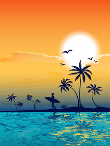 Summer Background With Palm Trees Vector Illustration