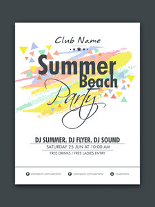 Summer Beach Party celebration flyer banner or template with colorful abstract design.