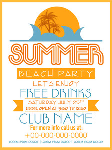 Summer Beach Party invitation card design with free offers and party details .