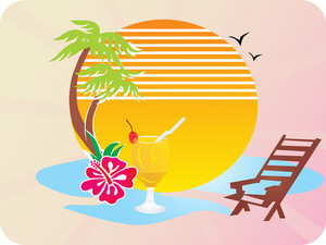 Summer Beach Scene Vector Wallpaper