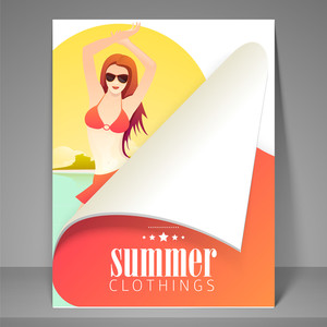 Summer clothings flyer brochure or template design with fashionable girl.