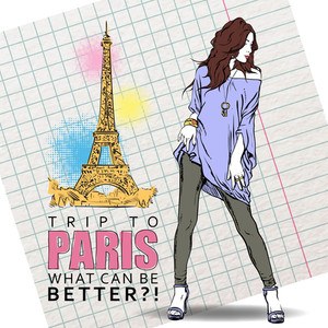 Summer Girl In Sketch-style On A Eiffel Tower Background. Vector Illustration