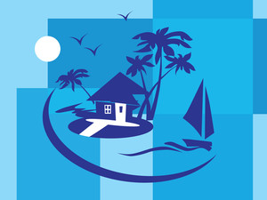 Summer Holiday With Palm Tree And Parasol On The Beach Series_10
