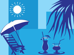 Summer Holiday With Palm Tree And Parasol On The Beach Series_1