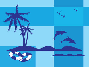 Summer Holiday With Palm Tree And Parasol On The Beach Series_9