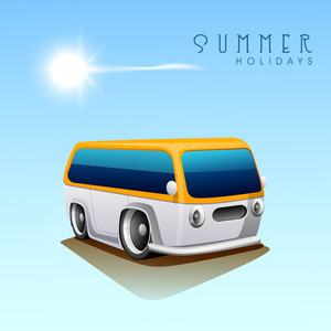 Summer Holidays Background With Caravan