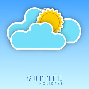 Summer Holidays Background With Sun In Clouds On Blue Background.