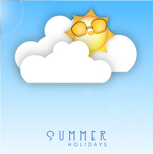 Summer Holidays Concept With Sun Wearing Glasses And Clouds On Blue Background