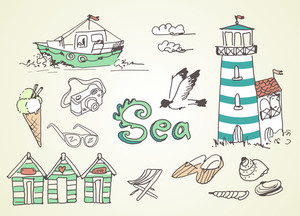 Summer Holidays Doodles! Vector Illustration.