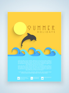 Summer holidays flyer template or brochure design with silhouette of a jumping fish.
