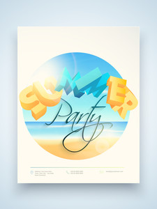 Summer Party flyer template or banner design with 3D text and beautiful view of a beach.