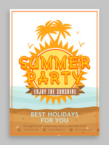 Summer Party invitation card design decorated with nature view for tour and travels.