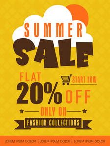 Summer sale flyer banner or poster with flat discount only on fashion collections.