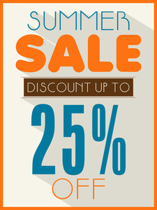 Summer Sale poster banner or flyer design with 25% discount offer.