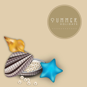Summer Season Background With Beautiful Seashells