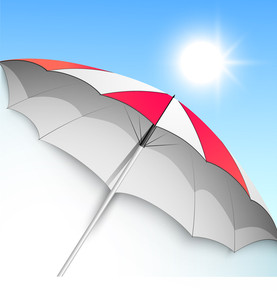 Summer Season Background With Open Umbrella.