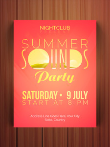 Summer Sounds Party celebration flyer banner or template with date and time details.