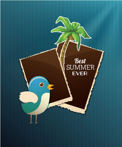 Summer Vector Illustration With Bird, Photo, Frame, Palm Tree