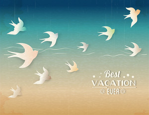 Summer Vector  Illustration With Bird