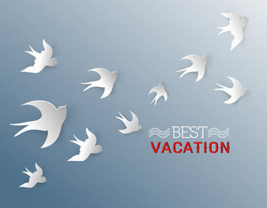 Summer Vector Illustration With Birds