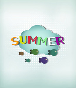 Summer Vector Illustration With Cloud And Fishes