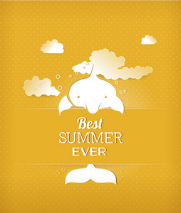 Summer Vector Illustration With Dolphin, Clouds
