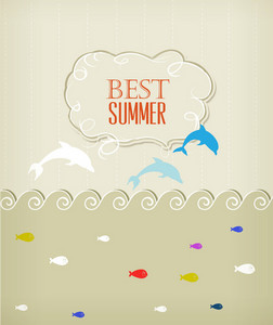 Summer Vector Illustration With Dolphin,clouds, Fishes, Sea